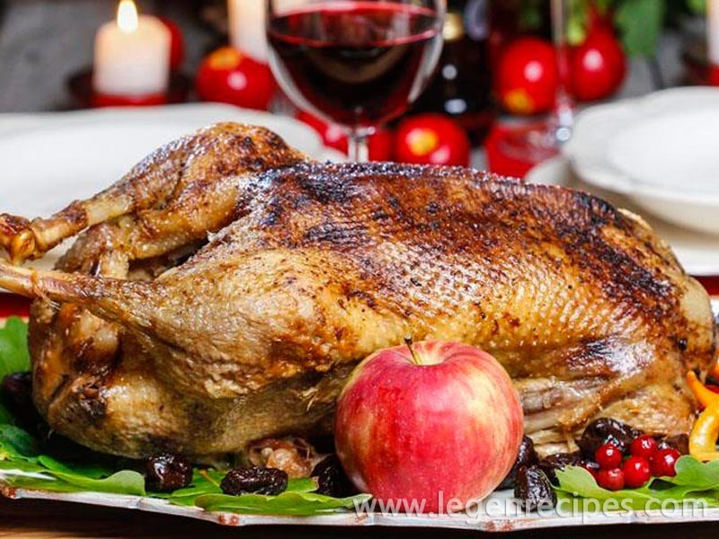 Goose baked in the oven