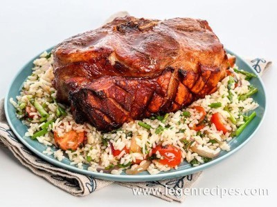 Pork shoulder roasted whole