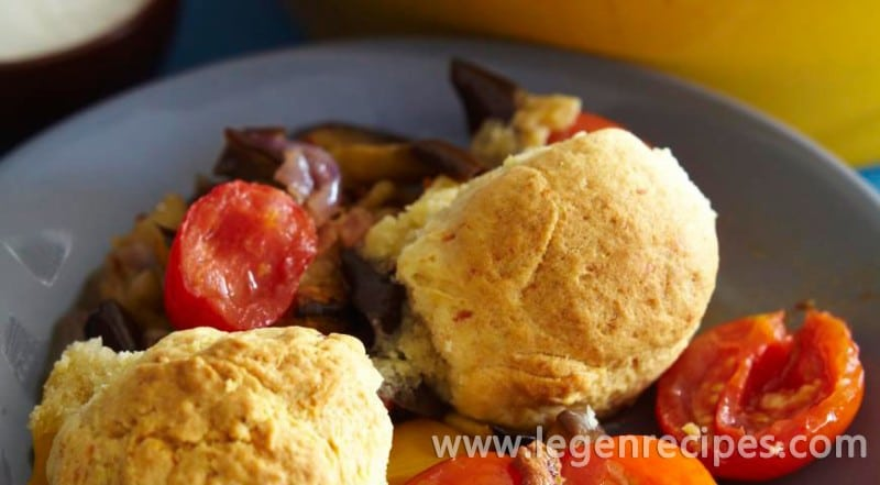 Vegetable cobbler with bacon and cheese