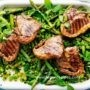 BBQ lamb with spring vegetable sauté