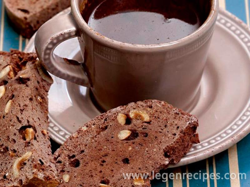 Chocolate biscotti with hazelnuts