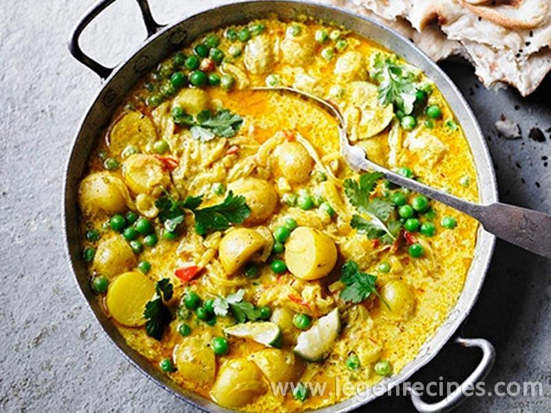 Pea & new potato curry
