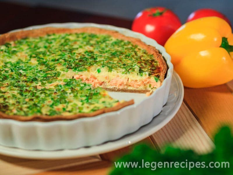 Open pie with salmon