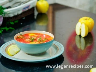 Soup with apples and meatballs