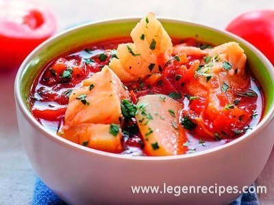 Tomato soup with fish and potatoes