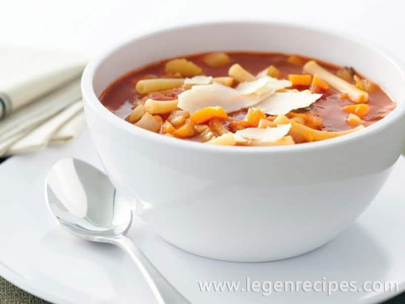 Vegetable and tomato pasta soup