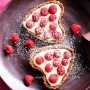 White chocolate cream heart tarts