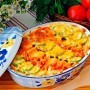A gratin of zucchini and tomatoes