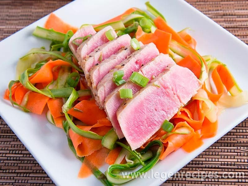 Asian Marinated Tuna with Shaved Salad Recipe