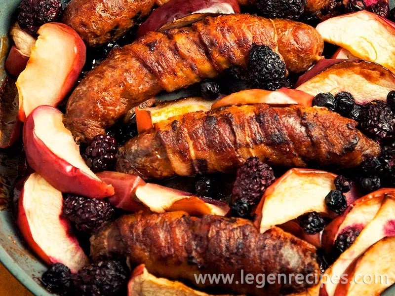 Bacon-Wrapped Sausage With Apples Recipe
