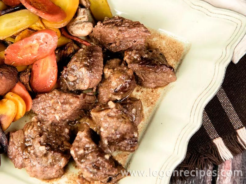 Beef Cubes With Roasted Carrots And Mushrooms Recipe