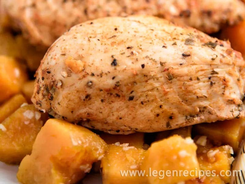 Chicken With Garlic-Roasted Sweet Potatoes Recipe