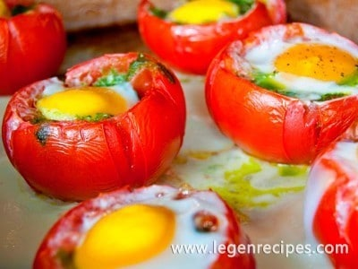 Egg and pesto stuffed tomatoes recipe