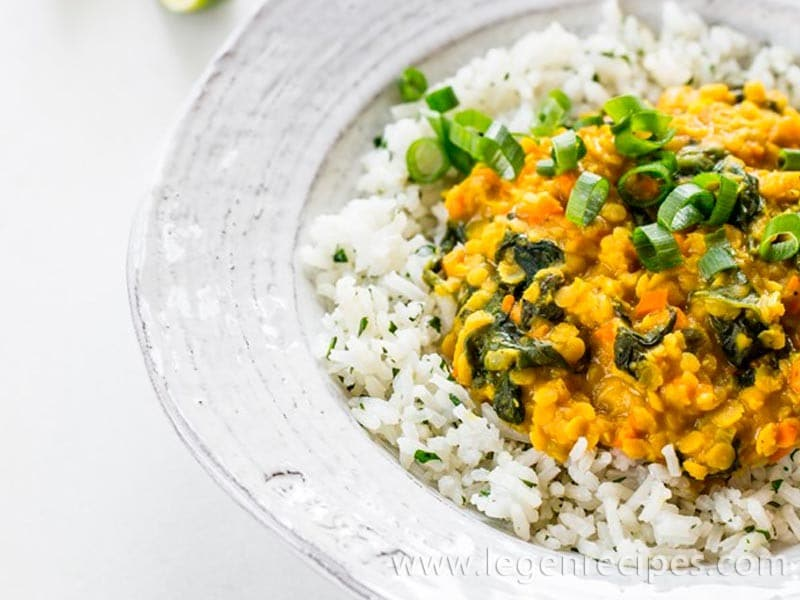 Golden Red Lentil Dal with Cilantro-Speckled Basmati