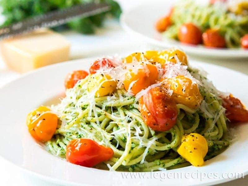 Kale Walnut Pesto & Blistered Tomato Pasta