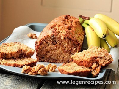 Lenten cake with bananas, nuts and dried fruits