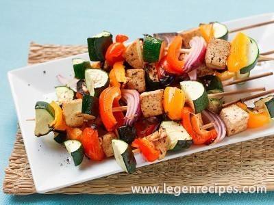 Marinated tofu kebabs