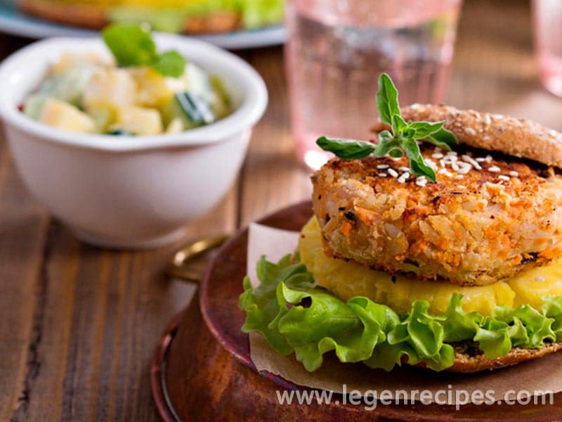 Meatless burgers from beans and vegetables