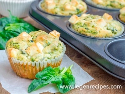 Muffins recipe with feta, cottage cheese and spinach