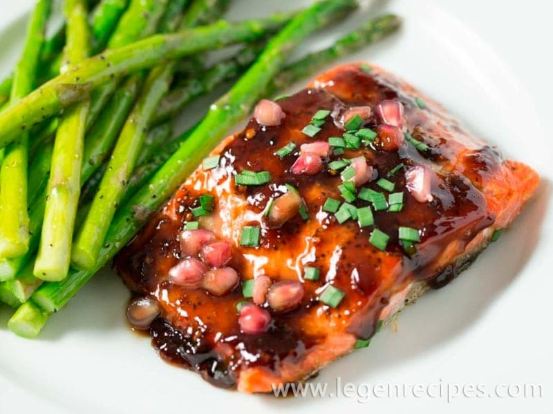 Pomegranate Soy Glazed Salmon