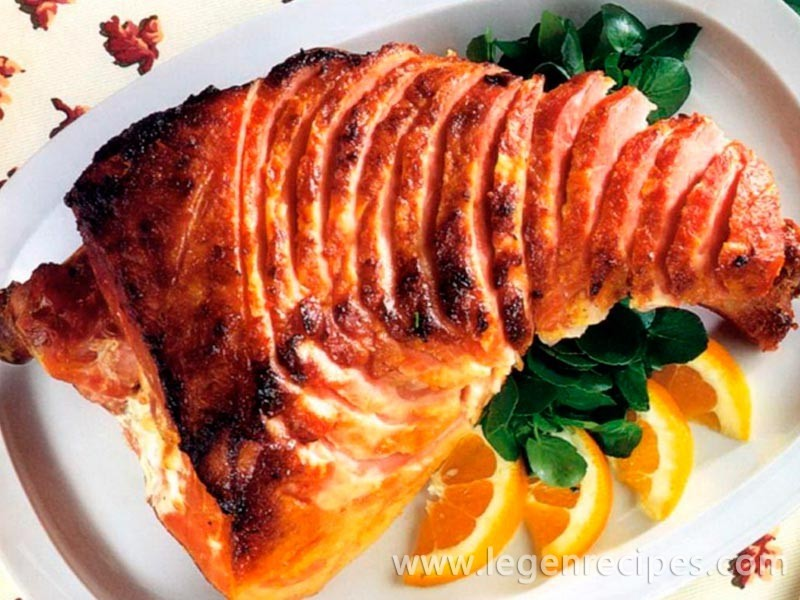 Recipe baked ham with mustard and honey