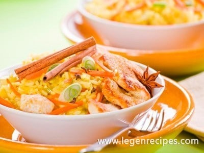 Recipe of chicken curry with rice and vegetables