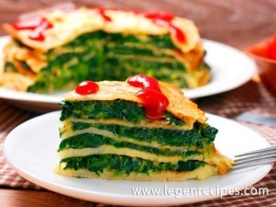 Recipe pancakes with spinach