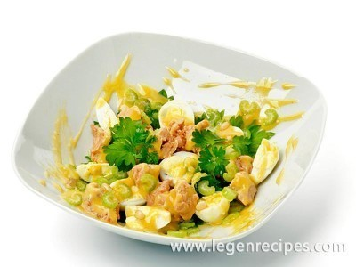 Salad with cod liver, cheese and eggs