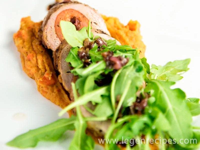 Sausage Stuffed Pork Tenderloin With Carrot Purée Recipe