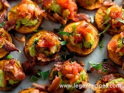 Sweet Potato Bites with Guacamole and Bacon Recipe