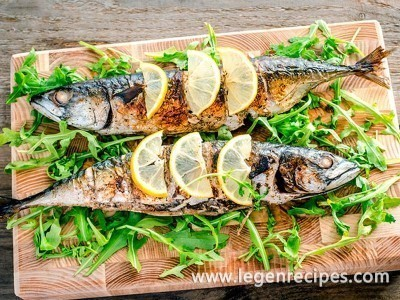 The mackerel baked in an oven