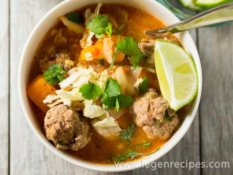 Winter Albondigas Soup with Shredded Cabbage