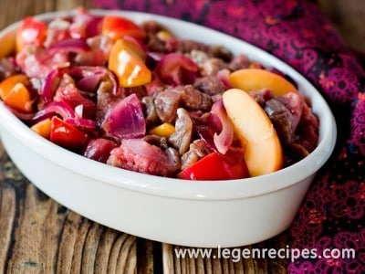 liver with apples in the oven