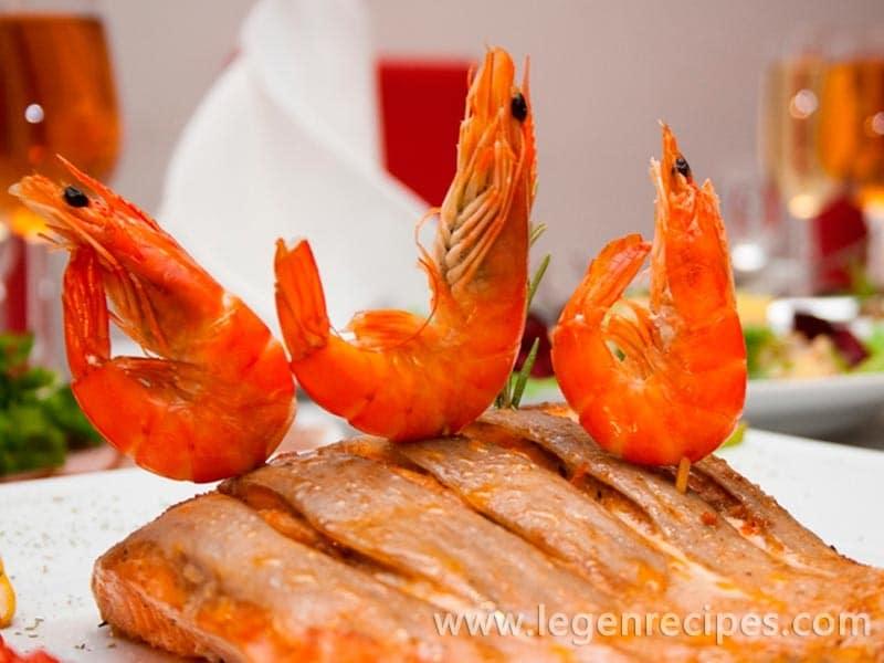 Recipe salmon under shrimp sauce