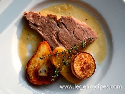 Braised Pork Roast with Onion Jus, Pears, Turnips and Potatoes
