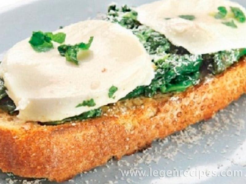 Bruschetta recipe with spinach and mozzarella