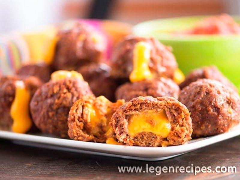 Cheese-Stuffed Taco Meatballs