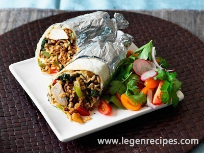 Chicken and spinach burritos