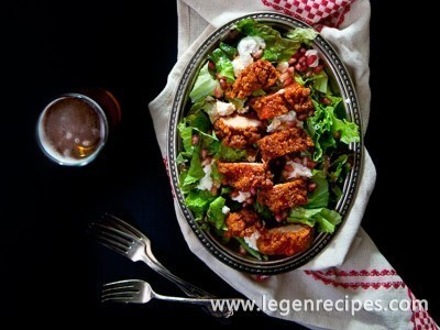 Fried Buttermilk Beer Chicken Salad with Sriracha Honey Vinaigrette