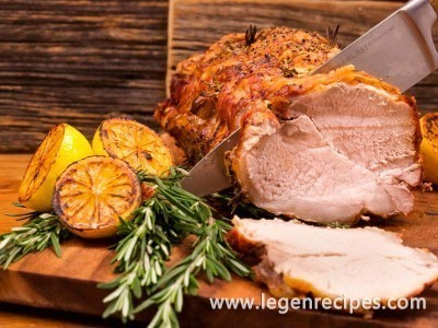 Garlicky Roast Pork Loin with Herb Sauce