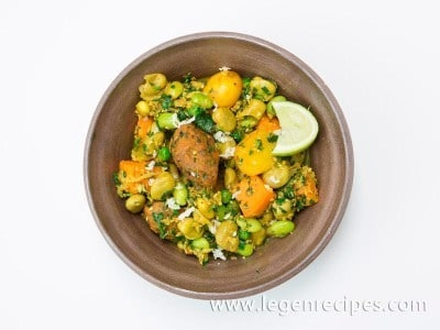 Gujarati Spring Vegetables with Chickpea and Fenugreek Dumplings