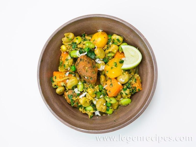 Gujarati Spring Vegetables with Chickpea and Fenugreek Dumplings