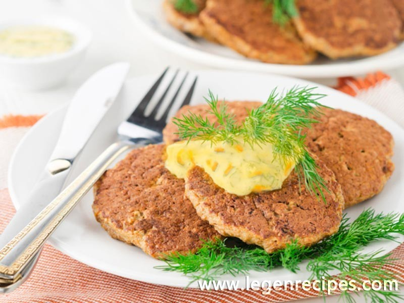 Hepatic pancakes under creamy carrot sauce