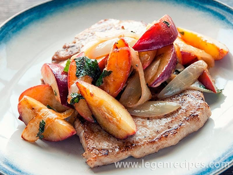 Nectarine & onion pork chops recipe