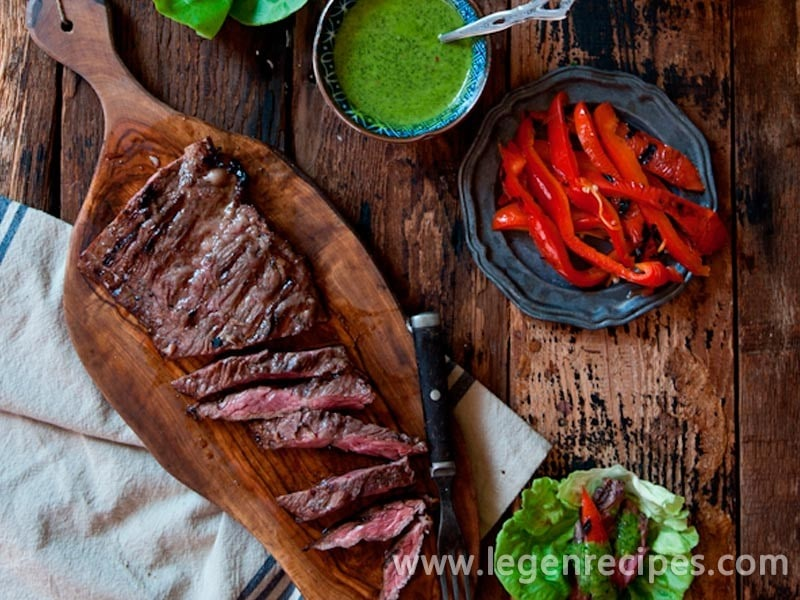 Porter Marinated Flank Steak Lettuce Wraps with IPA Chimichuri