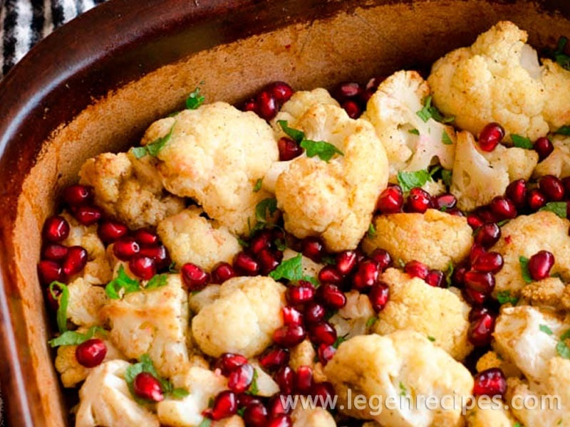 Roasted cauliflower with mint and pomegranate recipe