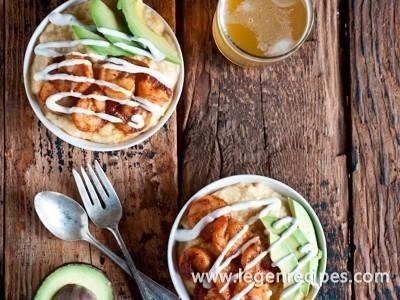 Spicy Beer Shrimp with Smokey Creamy Saison Polenta and Lime Crema