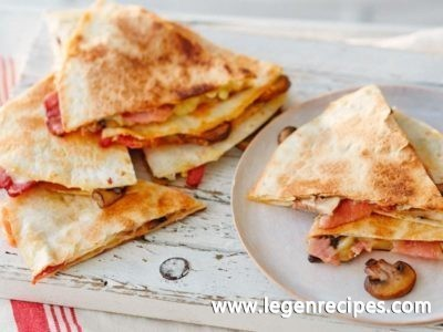 Bacon and mushroom quesadillias recipe