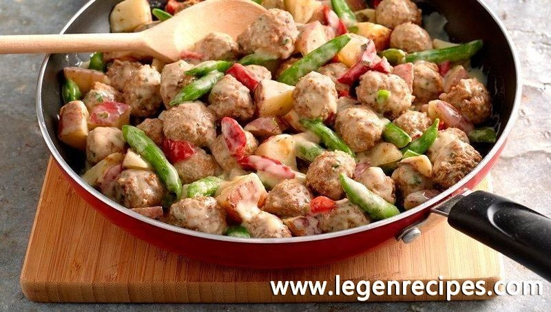 Creamy Meatball and Garden Vegetable Skillet