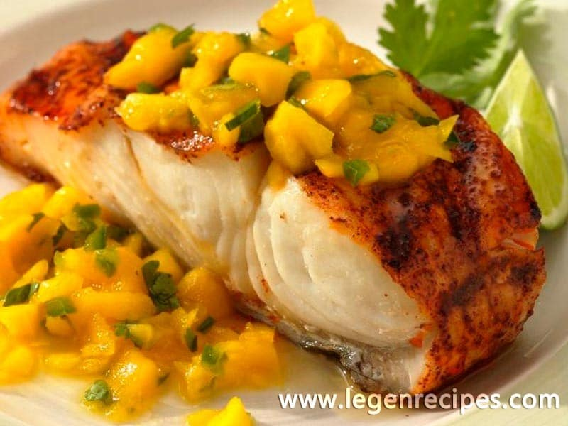 Grilled halibut with mango sauce legendary recipes for Grilled fish seasoning